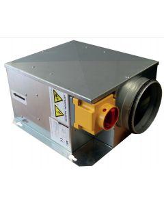 CAISSON EXTRA PLAT INSONORISE SIMPLE PEAU 25mm - PIQUAGE EN LIGNE Ø200mm , MONO 230V - 50Hz, 0,4A, 075W BFSA 200 IPC MONTES/CABLES