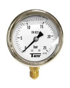 MANOMETRE A BAIN DE GLYCERINE DIAMETRE 100 mm INOX - PLAGE -1/+24 - RACCORD BAS DN15 GAZ 1/2'' - 15/21